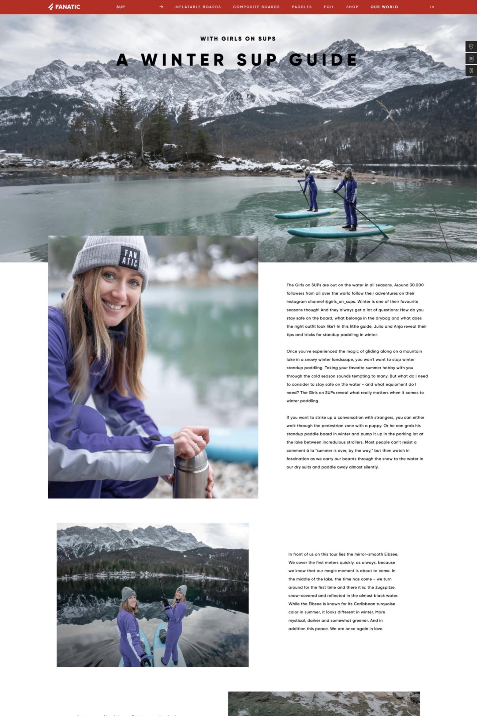Feature Fanatic - Artikel Winter SUP - Anja Mörk